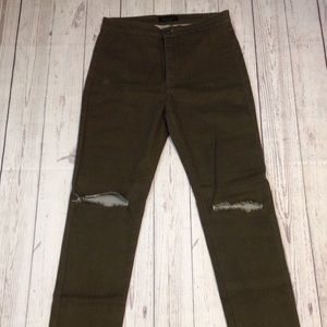American Bazi  Olive Green Ripped Pants Size 9